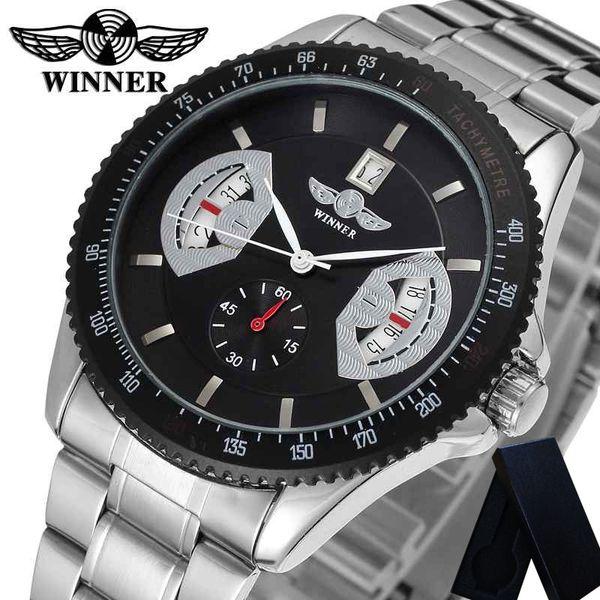 Gewinner Herrenuhren Automatische Mechanische Kalender Edelstahl Mann Uhr Top-marke Luxus Sport Männlich Armbanduhr 0140