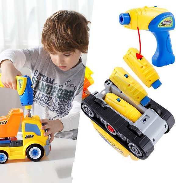 Children's puzzle disassembly and assembly engineering car baby detachable assembly electric nut tool toy boy's gift 008#