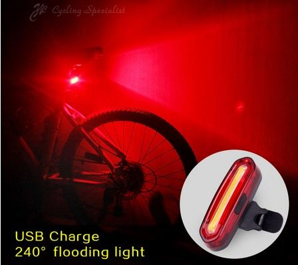 100 LM COB ricaricabile LED USB Mountain Bike Fanale posteriore Fanale posteriore Avviso di sicurezza Fanale posteriore Lampada per bicicletta