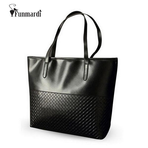uggage Bags Handbags FUNMARDI Fashion Knitting Women Handbags PU Leather Top-Handle Bags High capacity Casual Tote bag New Brand Women Ba...