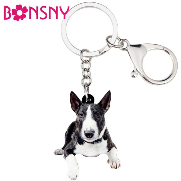 Acrylic American Pit Bull Terrier Dog Key Chains Keychain Rings Cute Animal Jewelry For Women Girls Handbag Charms Bulk