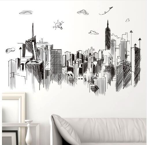 Free shipping Black Color Tall Buildings Wall Stickers PVC Material DIY Mural Art for Living Room Sofa Backdrop Office Decoration