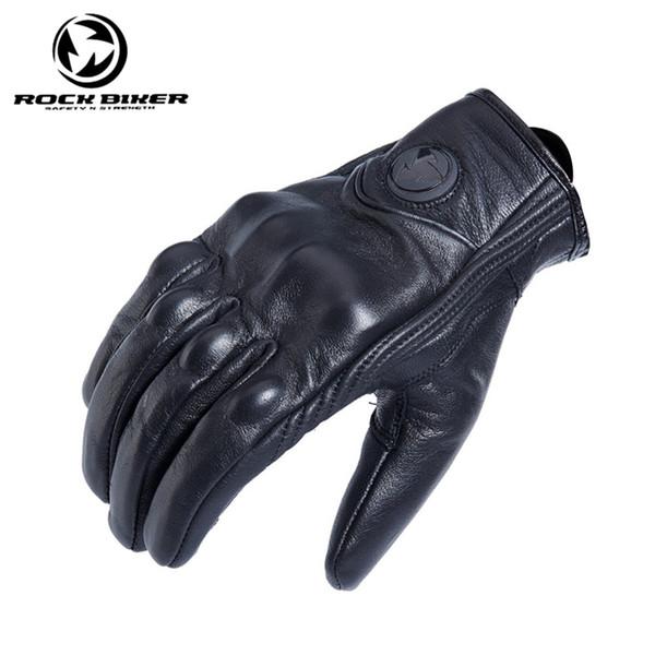 Rock Biker Retro Full Finger guantes de moto cuero verano hombres ciclismo Moto moto protectores engranajes Vintage guante