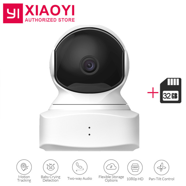 2018 New YI Cloud Dome Camera Baby Monitor+32 GB SD Card 1080P HD Night Vision Wireless Wifi IP Camera Pan/Tilt/Zoom Home