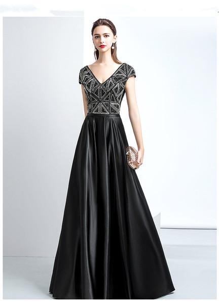 Schwarz V-Ausschnitt Ballkleid Prom Kleider 2018 Sexy Juwel Lange Prom Kleider Abendkleider Mit Sparkly Perlen Mieder Für Jugendliche Von