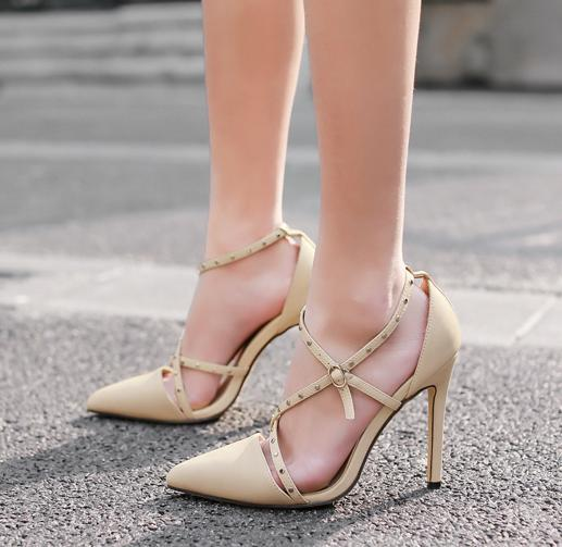 Sexy High Heels Hollow Out Strappy Pointy Toe Pumps Office Ladies Work Shoes Black Beige Size 35 to 40