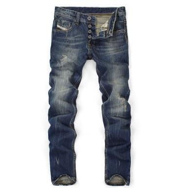 Pantaloni da uomo casual da uomo vintage con graffio e pantaloni jeans blu scuro elasticizzati