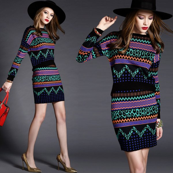 2018 autumn Winter New Women Geometric Print Sweater Tops and Skirt Sets Contrast Color Patterns Knitting Blouses and Skirt Set