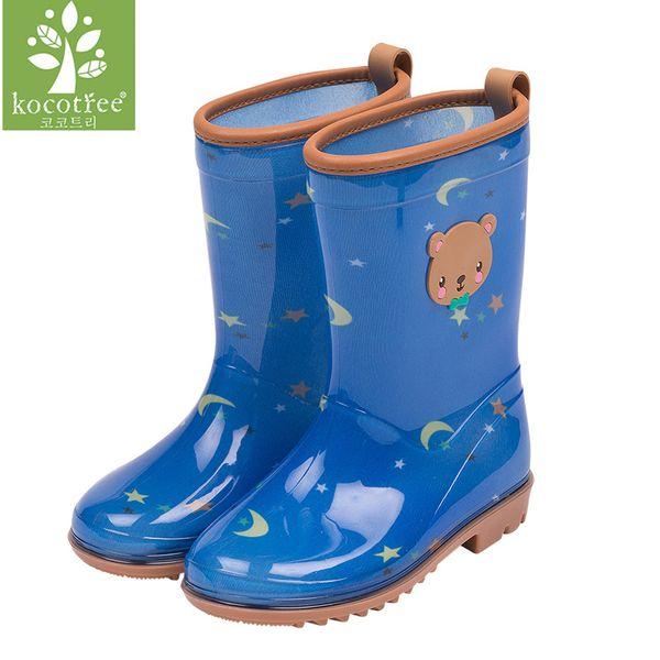 Kocotree fashion children unisex waterproof jumpsuit raincoat same type rain boots kids rain shoes students water shoes