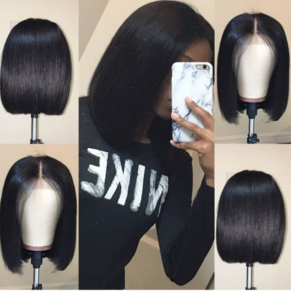top popular Bob Lace Front Human Hair Wigs With Baby Hair Pre Plucked Brazilian Remy Hair Full End Straight Short Bob Wig For Black Women 2019