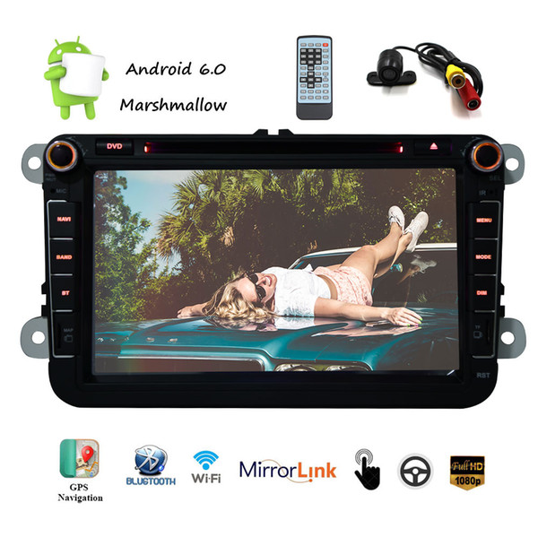 EinCar 8'' Car Stereo Multimeadia Player Android 6.0 Marshmallow Double 2 Din Car Naviagtor GPS Map car DVD player Backup Camrea Mirroring