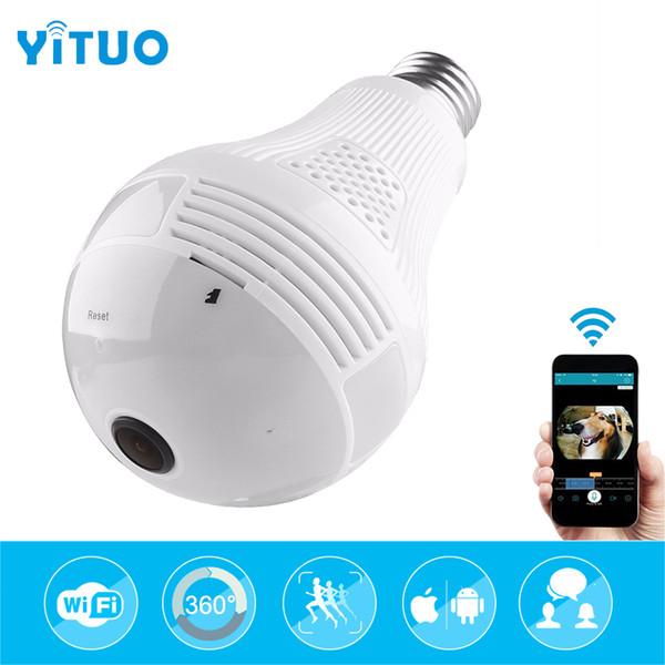 YITUO 2MP Wireless IP Camera Bulb Light FishEye 360 Degree 3D VR Mini Panoramic Home CCTV Security Bulb Camera IP