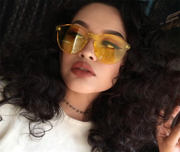Clear Cateye Sunglasses For Women Popular Yellow Tinted Color Lens Vintage Plastic Cat Eye Sun Glasses Rimless Female Red Sunglasses