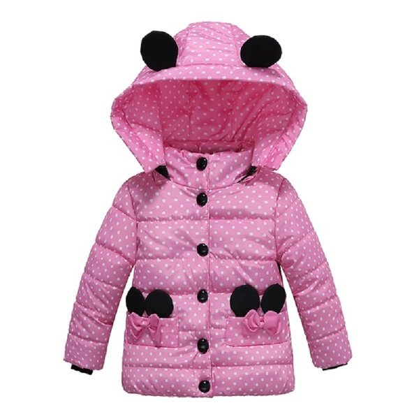 Girls Winter Coat Children's Cute Hooded Down Jacket For Baby Boys Toddler Kid Dot Bow Button Coat 1 2 3 4 year Children clothes Y18102608