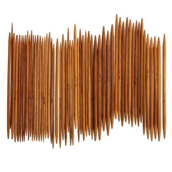 55Pcs Double Pointed Carbonized Knitting Needles Bamboo Sweater Needles Scarf Knitting Needle Sewing Weave Accessories