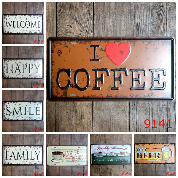top popular 15*30cm Vintage Tin Poster Welcome Happy Smile Iron Paintings Family Cold Beer Coffee Metal Tin Sign Bar Cafe Decor craft FFA1294 2021