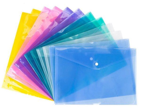 4 COLOR A4 Document File Bags with Snap Button transparent Filing Envelopes Plastic file paper Folders