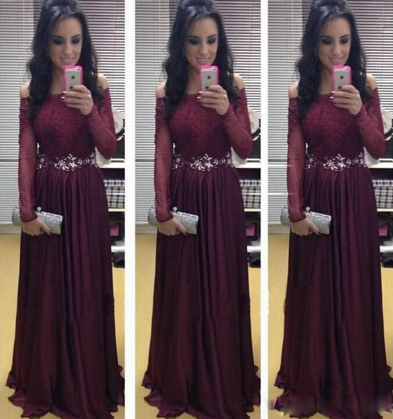 Off Shoulder Wine Red Lace Long Sleeve Pageant Evening Dresses Women's Bridal Gown Special Occasion Prom Bridesmaid Party Dress 17LF656