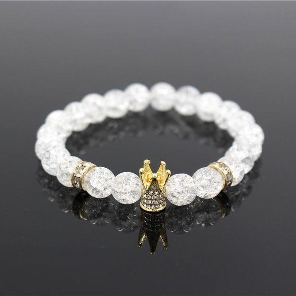 Micro Pave Weiß CZ Gold Farbe König Crown Charm Armband Männer Langweilig Polnischen Weißen Popcorn Stein Perlenarmband Schmuck Für Frauen