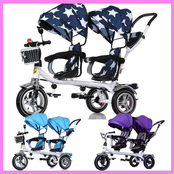 Baby Twins Tricycle Passeggino 3 Ruote Doppio passeggino per bambini Twins Guardrail Sedile Baby Toddler Bike Car Triciclo Carrozzina