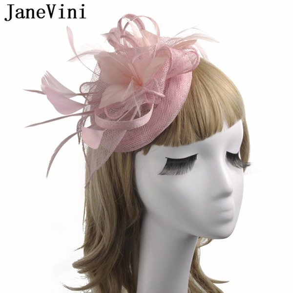 JaneVini Pink Black Wedding Bride Hat Bridal Hat Flower Headwear Evening Party Feather Womens Hats And Fascinators With Hairpin