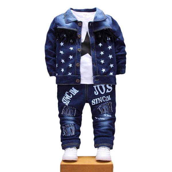 Niños Niños Niñas Conjuntos de ropa de mezclilla Bebé Estrella Chaqueta Camiseta Pantalones 3Pcs / Sets Chándales de niños pequeños de otoño