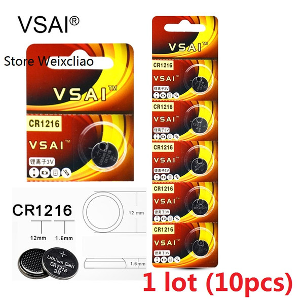10pcs 1 lot CR1216 3V Lithium li ion button cell battery CR 1216 3 Volt li-ion coin batteries VSAI free shipping