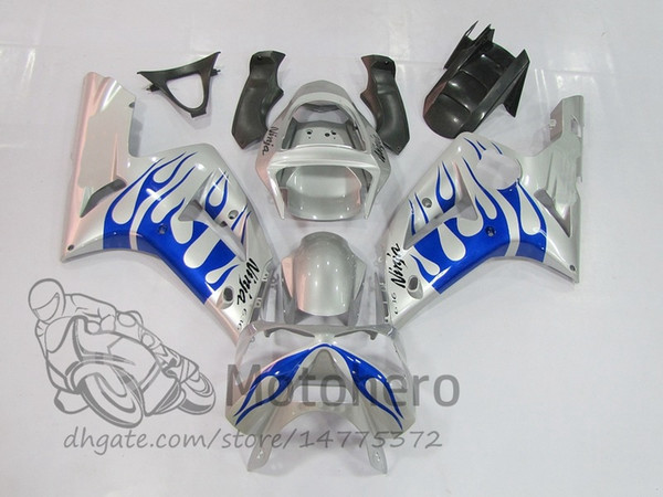 3Gifts corpo de Carcaças de Injeção Para KAWASAKI NINJA ZX6R 2003 2004 # 966D7 ZX-6R ZX 6R 636 03 04 kits de carenagem prata chama azul
