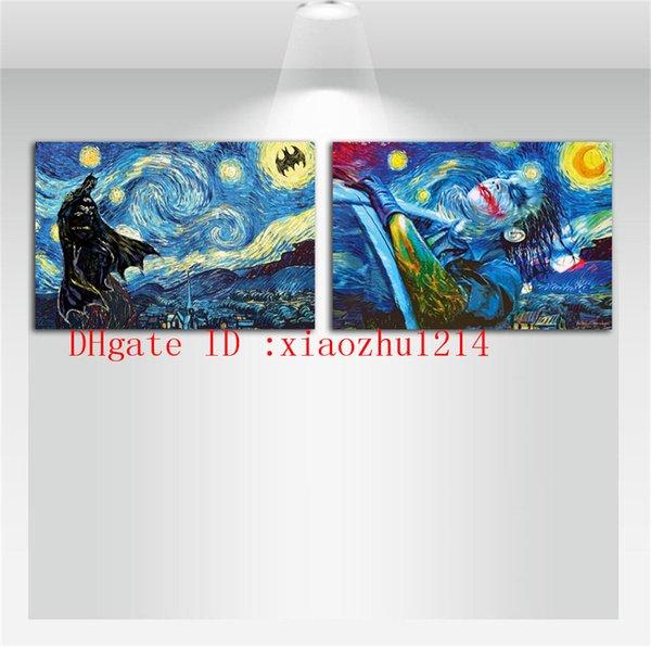 Batman Yıldızlı Gece Vincent Van Gogh, 2 Parça Ev Dekorasyonu HD Baskılı Modern Sanat Tuval Üzerine Boyama (Çerçevesiz / Çerçeveli)
