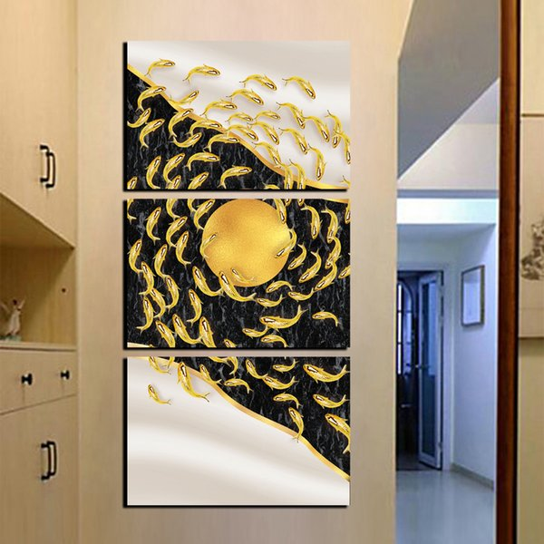 3 панель на холсте современный домашний декор стены искусства печатных золотые рыбы картины маслом для веранды HD печать и плакаты фотографии