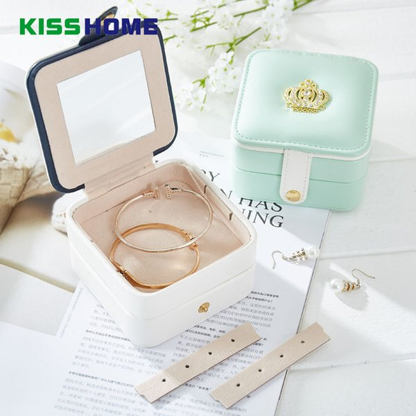 2 Color Crown Mini Travel Accessories Case Jewelry Storage Casket Leather Ring Earring Organizer Box Wedding Birthday Gift Bag