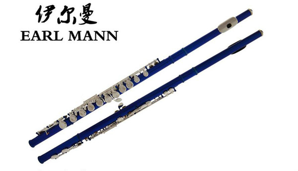 High Quality Earl Mann 16 Hole Close C key Flute Cupronickel Blue Paint E Key Brand Concert Instruments Flute With Case