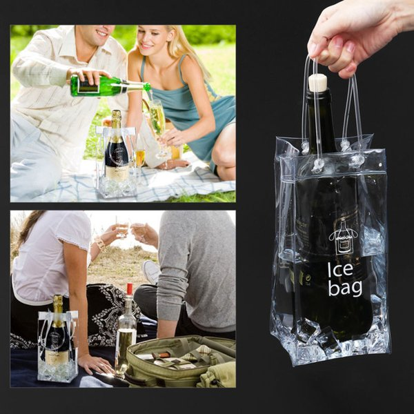 Portable PVC Ice Bag Wine Storage Bottle Drinking Wine Bottle Ice Bag Cool Holder Party Picnic Drink Beer Cooler Carrier Clear FFA403 120pcs