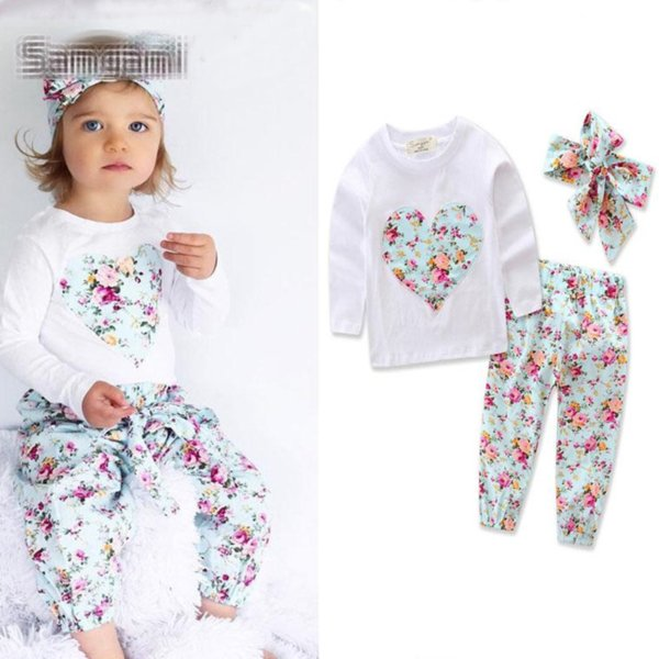 INS Baby Girl Clothing Heart-shaped Print Suits Kids Clothing Sets Toddler Infant Long Sleeve T-shirt + Trousers+Hair Band 3pcs Casual Sets