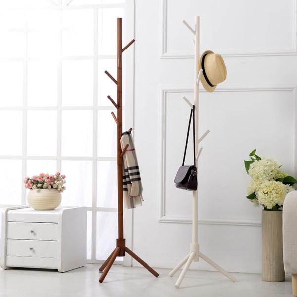8 Hook Modern Colorful Coat Hanger stand for hall furniture Simple Wooden Floor Clothes Rack Bedroom Living Room