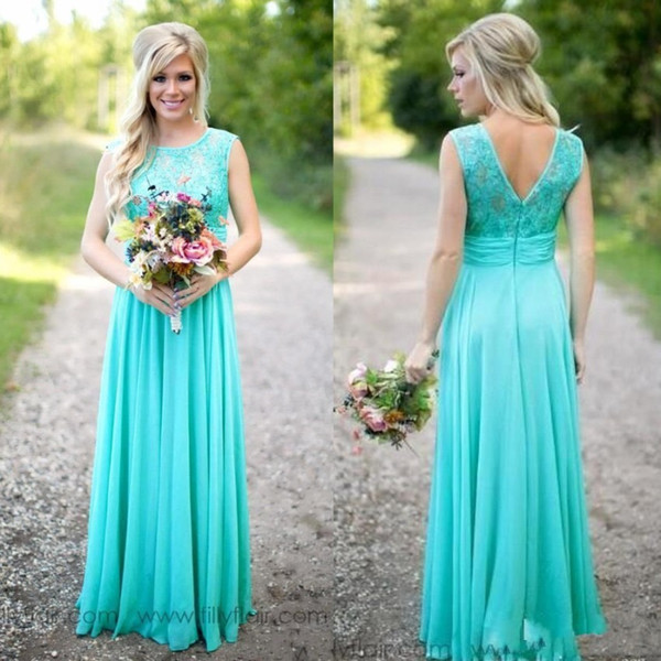 Elegant 2019 Country Chiffon Bridesmaid Dresses A Line Sheer Lace Neck V Cut with Zipper Back Floor Length Maid of Honor Gowns Cheap