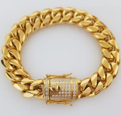 dff7b3d14d6c Compre Cierre De Caja De Acero Inoxidable De 18 Quilates En Oro Amarillo De  14 Mm Para Hombre Pulsera De Borde En Cubos De Miami De 14 Mm A  24.37 Del  ...