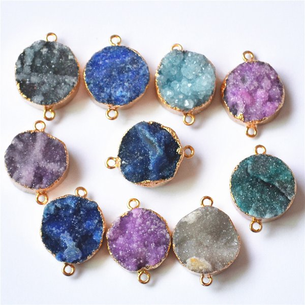 natural druzy New HOT!Natural Druzys Agates Pendants Charms,Stone Carnelian Connector 21x20mm,Mixed Colors Sent At Random 6PCS Free Shipping