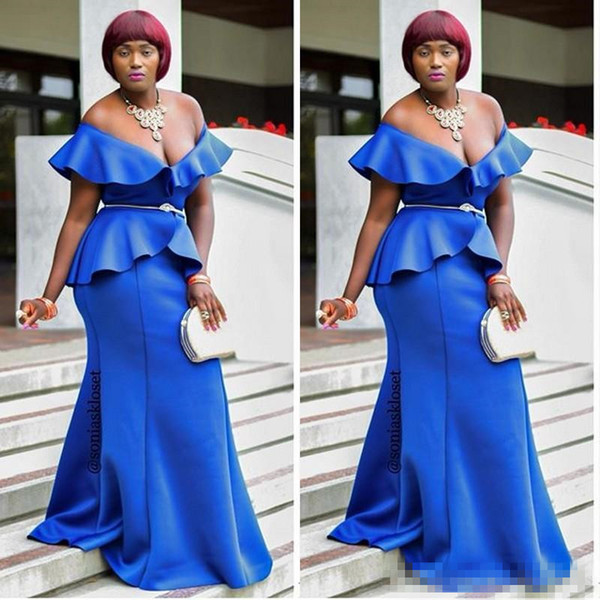 Royal Blue Low Cut Prom Dresses Plus Size Peplum Mermaid Evening Gowns South African Women Cocktail Party Dress Custom Made Mother Dress