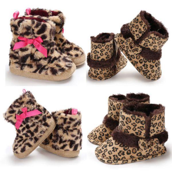 Newborn Infant Kids Baby Girls Snow Shoes Leopard Soft Sole Prewalker Crib Plush Boots Winter Casual Fashion Shoes