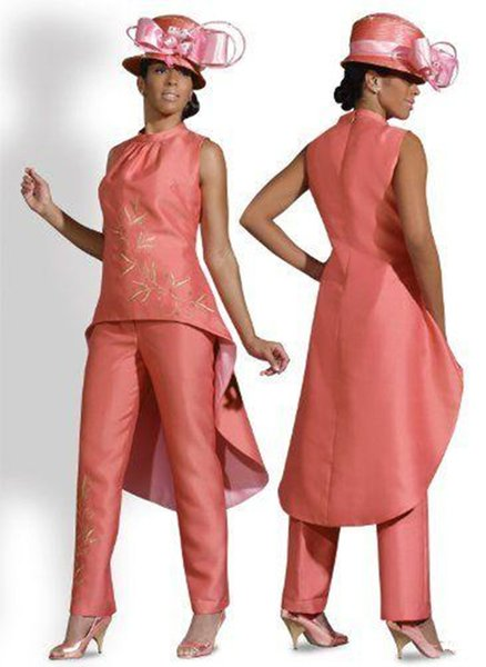 Coral Mother Of the Bride Dress 2018 New Taffeta Custom Make Plus Size High neck Mother of the Bride Coral and Pink Pants Suit