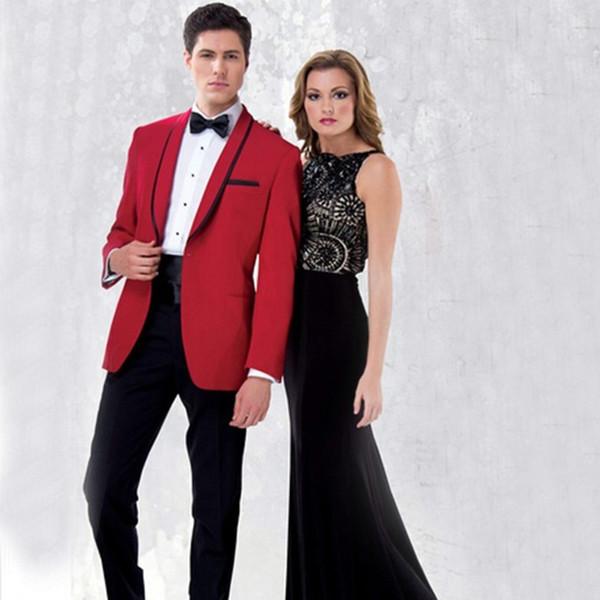 2018 Men Suits Red Black Shawl Lapel Wedding Suits Bridegroom Tuxedos 2Piece Custom Made Slim Fit Formal Blazer Prom Evening Dress Party