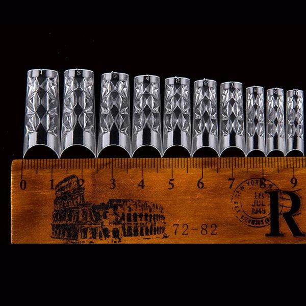 False alta qualità Nails Tips 500pcs francese professionale falsi Nails mosaico di vetro Acrilico trasparente gel UV lungo Unghie Finte attrezzo del manicure