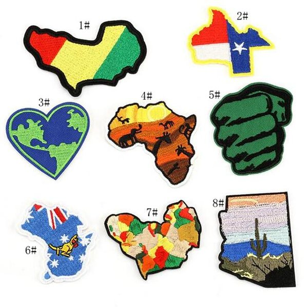 best selling 8P-15 multicolor 3d embroidered iron on patch Christmas Party Applique cartoon patches Texas Map sew on patch Australia Africa