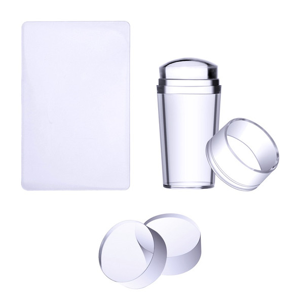 Nail Art Templates Pure Clear Jelly Silicone nail stamping plate Scraper with Cap Transparent 2.8cm Stamp Art