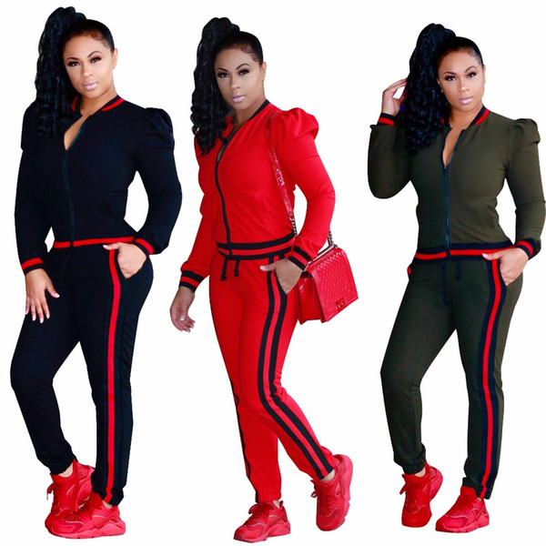 Womens Two Piece Sets Red Green Stripe Casaul Tracksuit Spring Autumn Women Clothes Plus Size Tracksuit for Femme