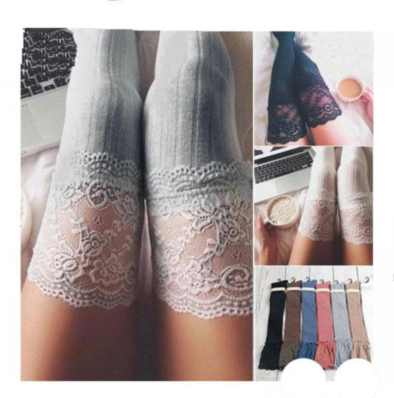 Fashion women winter cable knit over keen long boot thigh-high warm socks leggings girls lace crochet knitted stockings