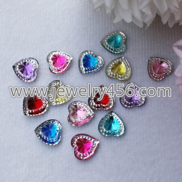 Wholesale 14mm 100 Pieces Heart Shape Dazzling AB color Resin Rhinestones Crystal Gem Stones Flat back