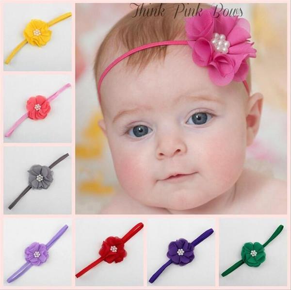 20 Colors Baby Headbands Flower Chiffon Head bands Kids Girls Elastic Headwear Children Hair Accessories Headdress Party Wear KHA322