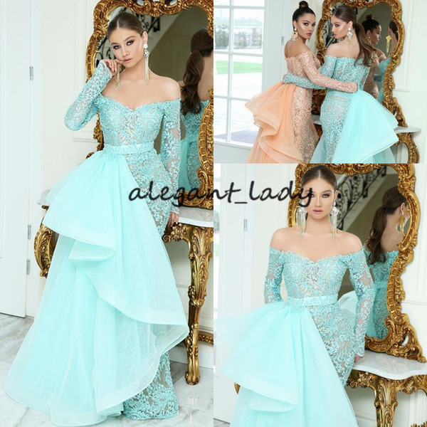 mint green mermaid evening pageant dresses with detachable train 2019 off shoulder long sleeve lace organza tiered ruffles prom gown